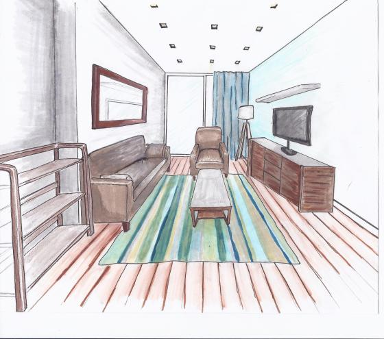 A concept sketch for a big girls living room interior Room sketches interior design